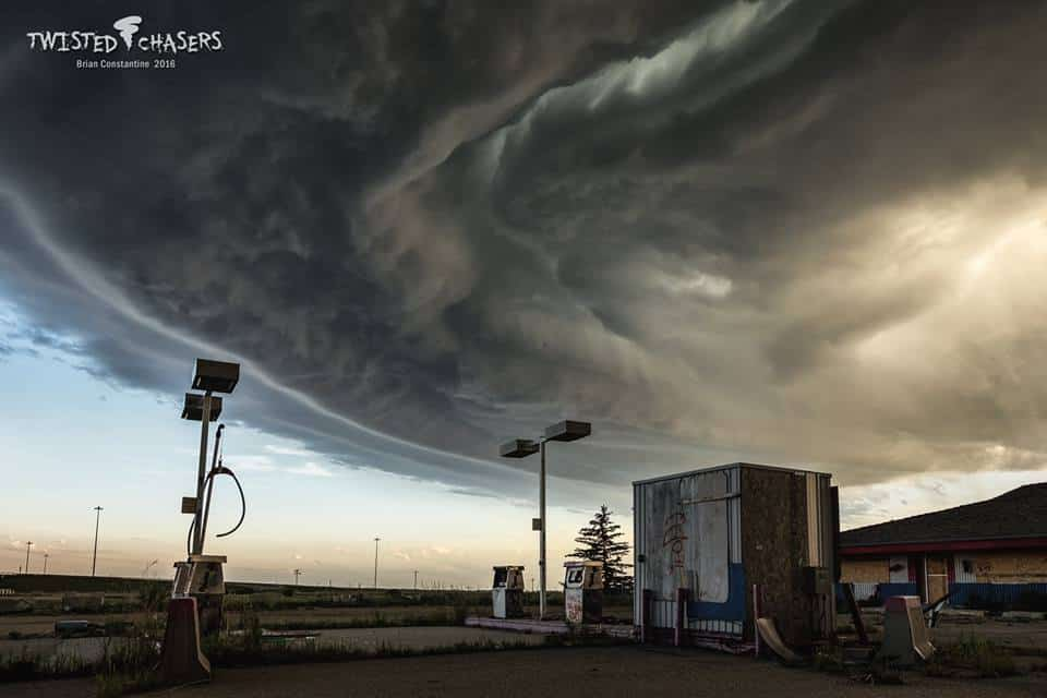 An abandoned gas station seemed like an appropriate setting for this apocalyptic storm structure near Olds, Alberta yesterday evening (June 7).