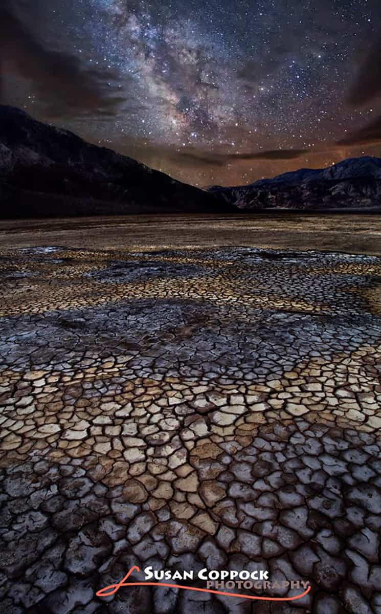 Dry lake bed and Milky Way in Borrego Springs, California. No cool tornadoes over here, just dry days...Good luck everyone!