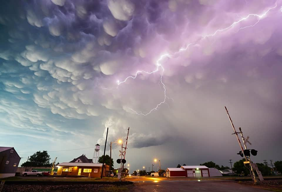 Mullinville, Kansas. In the minutes following sunset the lightning and mammatus erupted on the back side of this beauty storm.