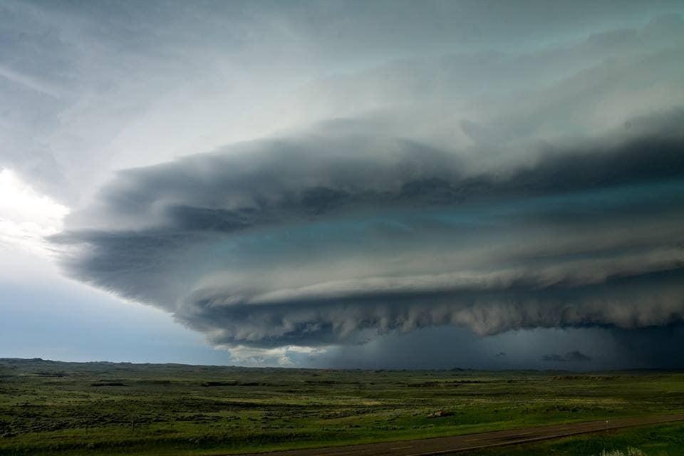 """""""Layered"""" A beautiful, sculpted shelf cloud advances across the open plains of eastern Montana. Taken near Winnett, Montana on 9 June 2016."""