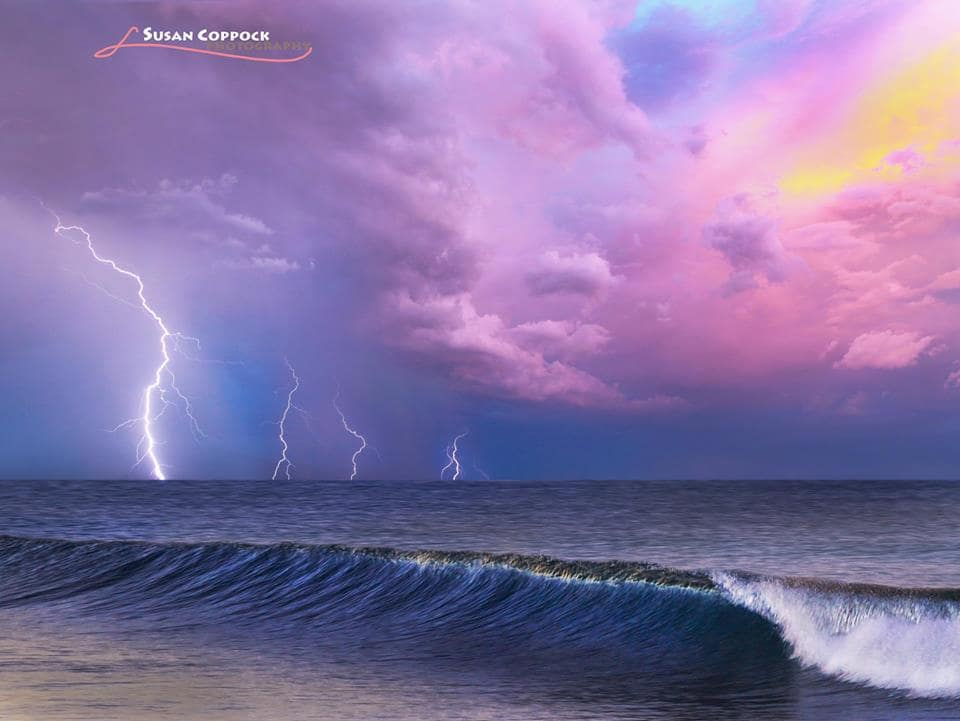 Trying something new. A composite of two photos I took from my two loves: the desert and the ocean. The lightning was taken at sunset in Arizona and the ocean was taken at sunrise in California- but I like how the colors matched.