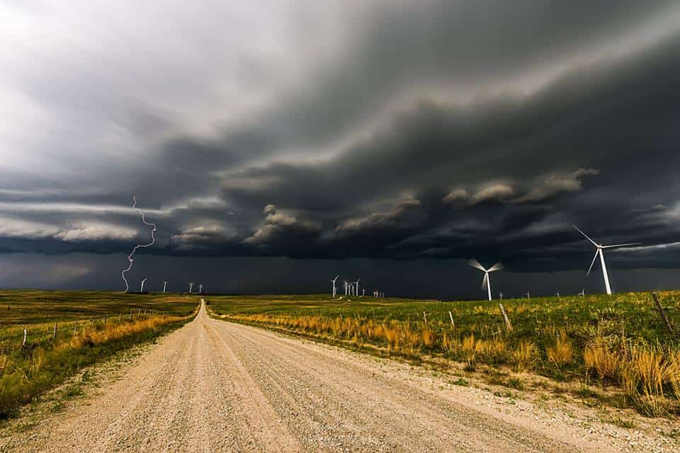 An approaching storm over a South Dakota wind farm last June