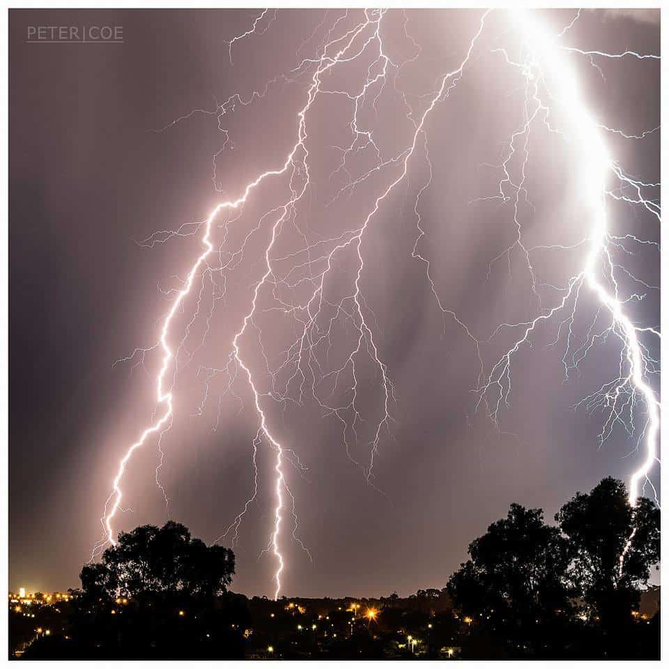 Lightning strikes the ground over Perth's northern suburbs, Western Australia, as high based nocturnal thunderstorms moved in over the area. 1/03/2017