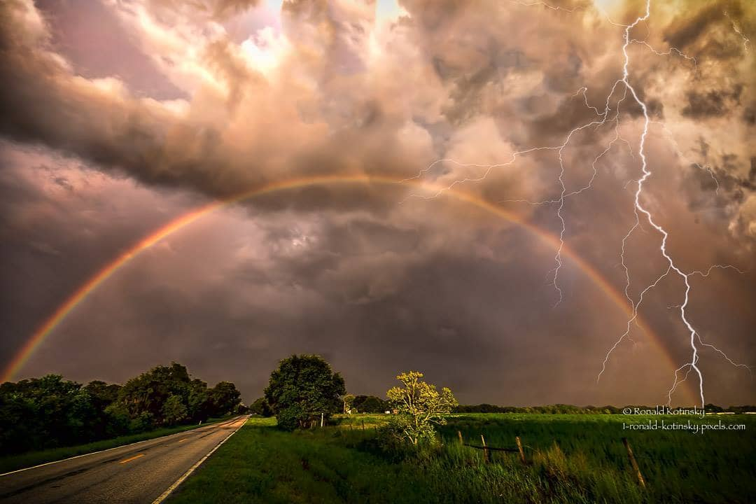 Rainbow Delight - Tampa - Florida - a composite photo of my best lightning bolt and rainbow from 2016. I hope to capture a rainbow and lightning bolt together this year with a single frame. Storm season will start soon as we warm up in Tampa, Florida. — at Tampa Bay.