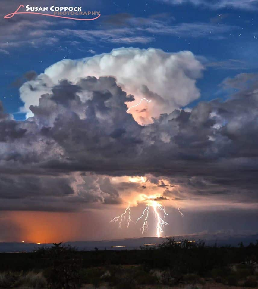 I will never tire of shooting in the monsoons in Arizona and New Mexico. Here's another one from last summer. I love the little escapee bolt coming out of the top of the cloud. 30-second exposure, f/5.6 ISO 800.