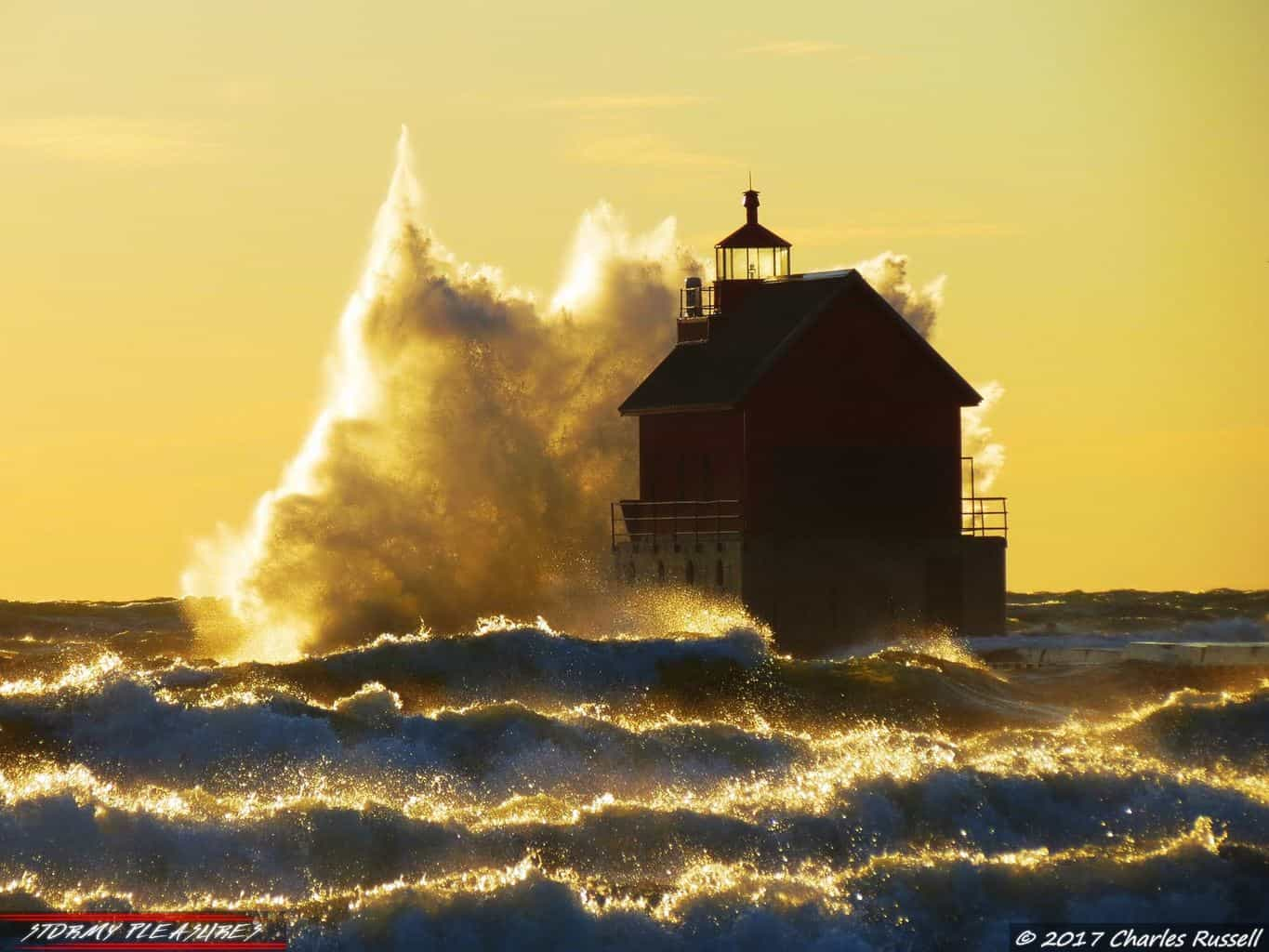 Absolutely amazing day at Grand Haven State Park in Michigan!!! Just coming into the golden hour on this wildly windy day!! The waves were fantastic!