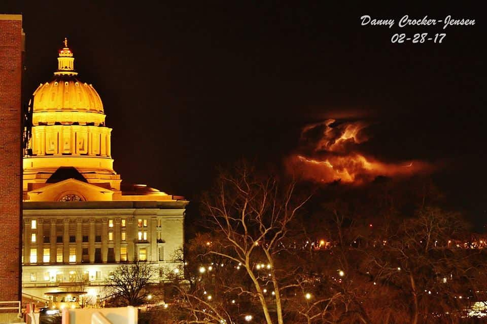 Snagged a couple cool shots of lightning at the Missouri Capitol tonight. — in Jefferson City, Missouri.