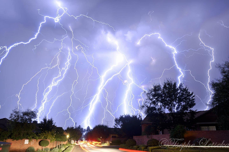 Lightning barrage in Pretoria, South Africa on the 5 April 2017.