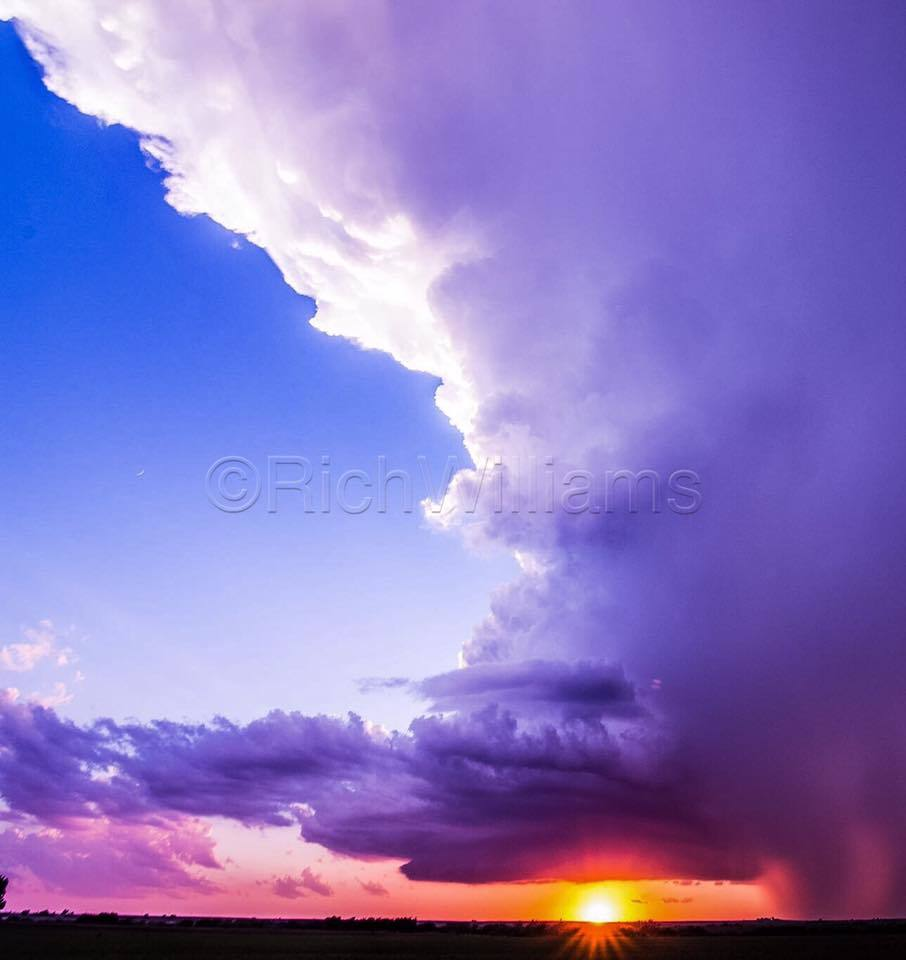 Beautiful LP supercell during sunset lighting up the rain free base!! 10/04/2016