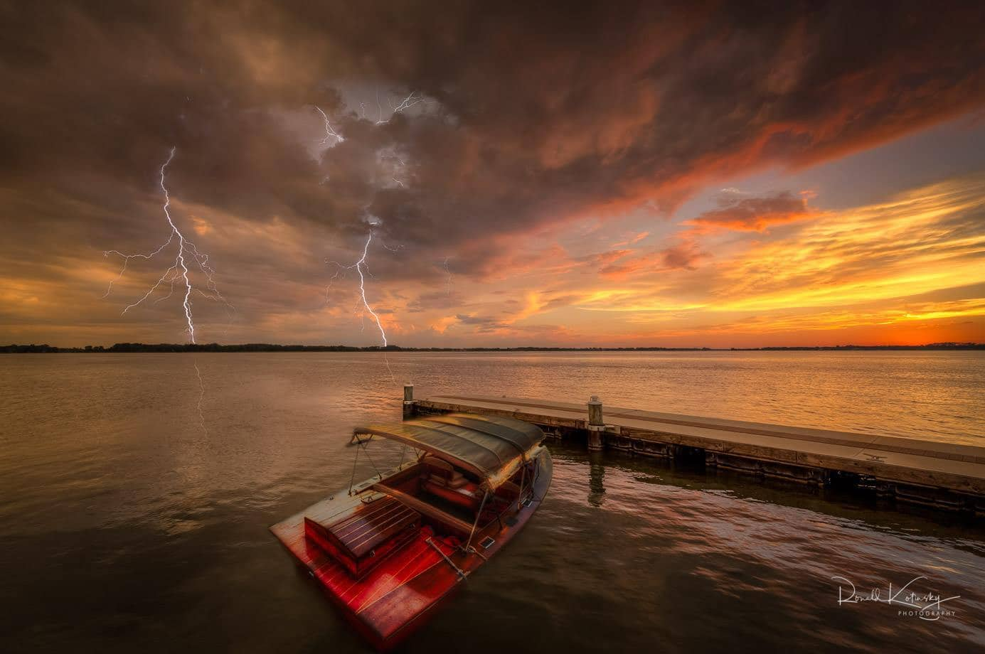 Twilight Lightning at the Dock - a composite of 3 of my favorite photos