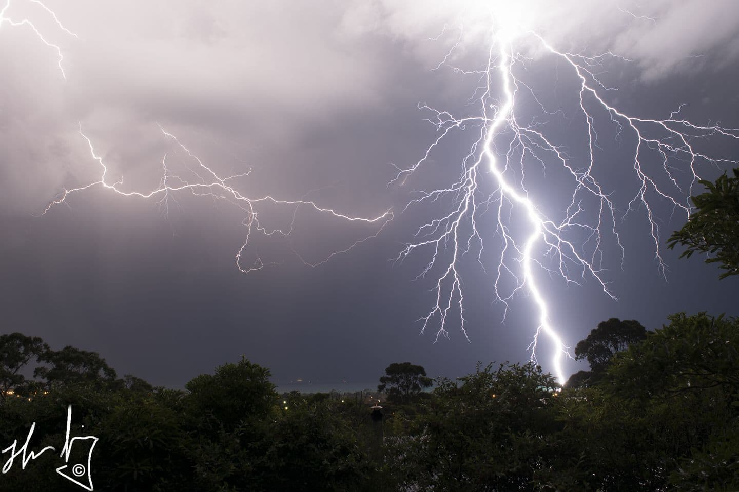 Early morning storms fired up yesterday in Victoria, I managed to capture this nice bolt.