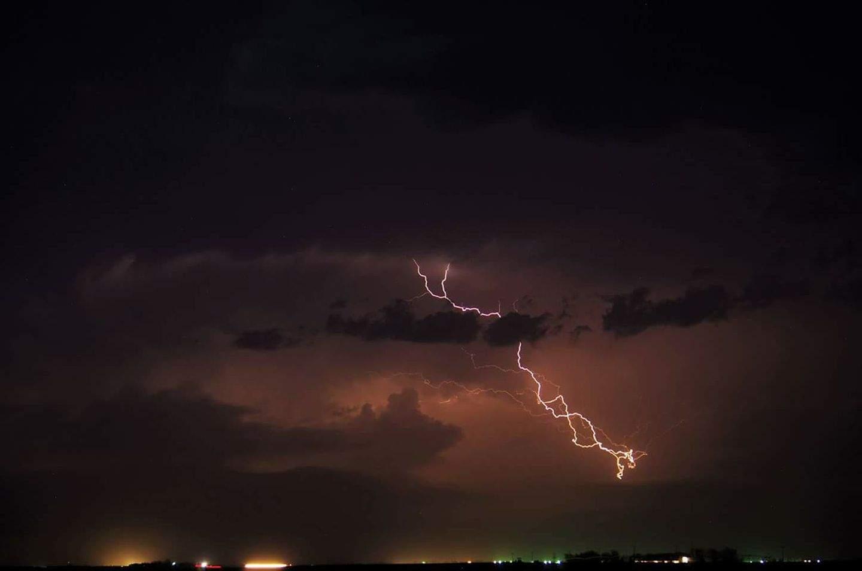 Friday night lights, north of Holdrege, Nebraska. USA