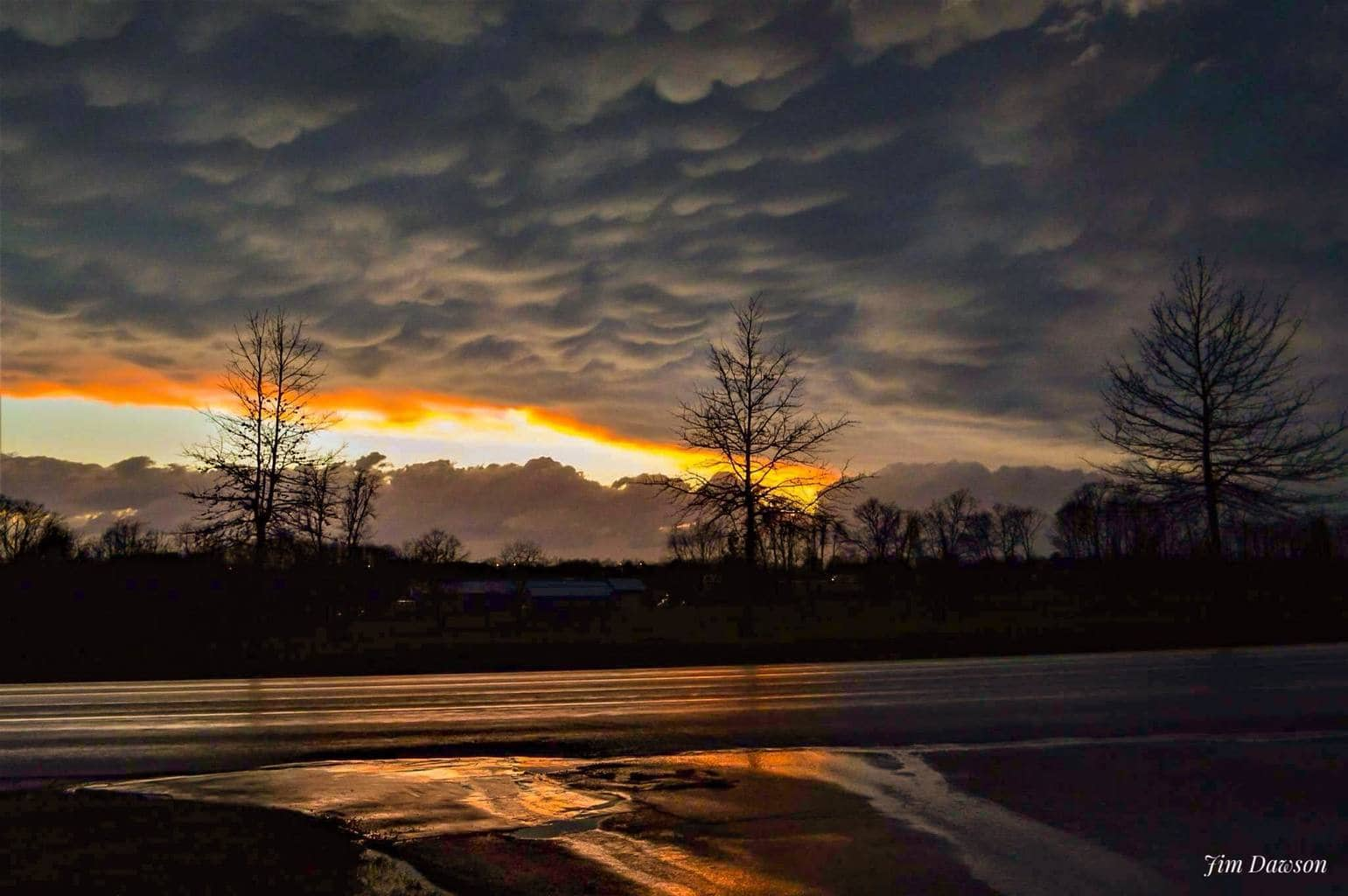 After the storm. Mammatus clouds at the tail of a thunderstorm,Georgetown Kentucky Wednesday night .