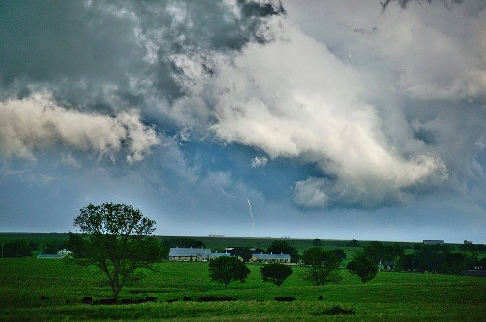 Can you spot the tornado? A narrow rope vortex gives its last breath underneath a supercell near Bromide, Oklahoma on May 9th 2016. This tornado was a brilliant white for most of its life morphing through many crazy shapes. If you like this feel free to share and follow me on twitter and facebook @TwisterkidMedia where I captured the whole event on video. With May coming up you can expect a lot more content like this!