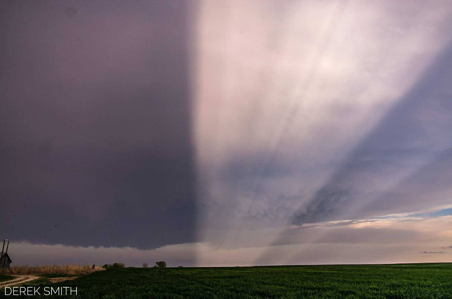 A stunning display of anti - crepuscular rays accompanied a gorgeous LP Supercell near Protection, KS last weekend.