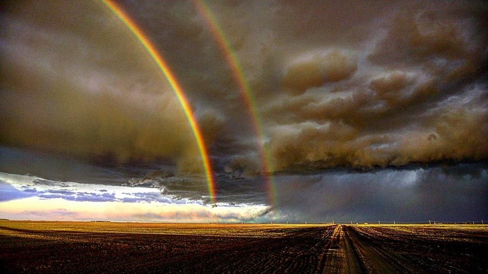 Double rainbow with a nice spring storm. Regina sk. May 14th — in Grand Coulee, Saskatchewan.