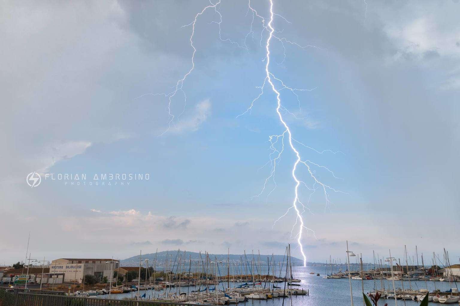 Lightning on Thau lagoon, France