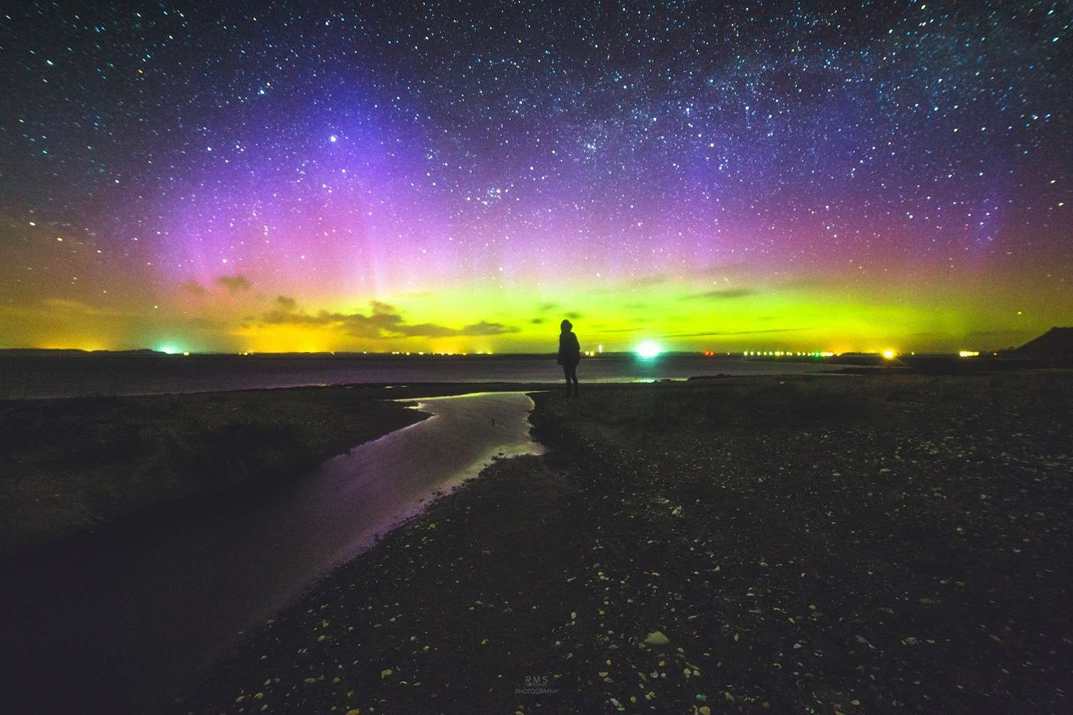 Aurora outburst over Feggesund, Denmark, in the first minutes of Earth Day.