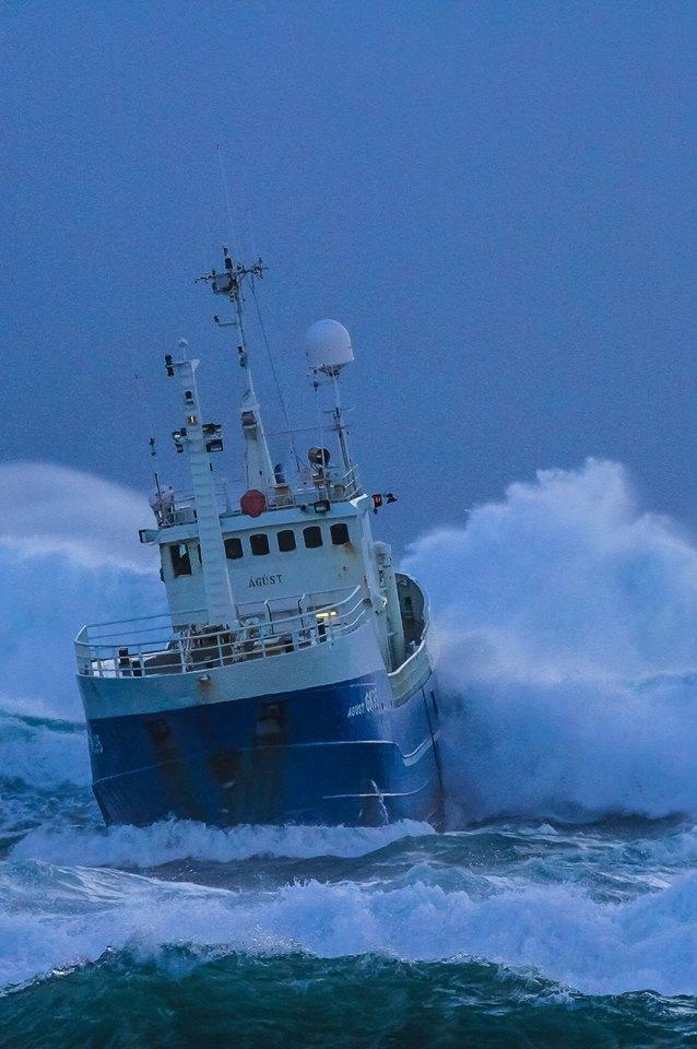 Battling 8 meter high waves...