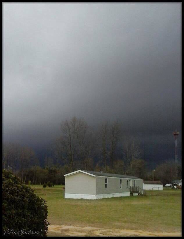 4-29-2014 when you're under a tornado warning and this creeps up out of the trees behind your house, picture was taken at my daughters house in Roseboro NC