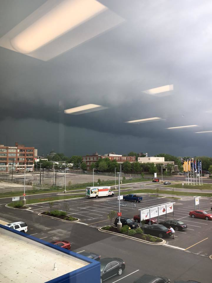 Disregard the lights but this is outside Ikea St. Louis a few hours ago.
