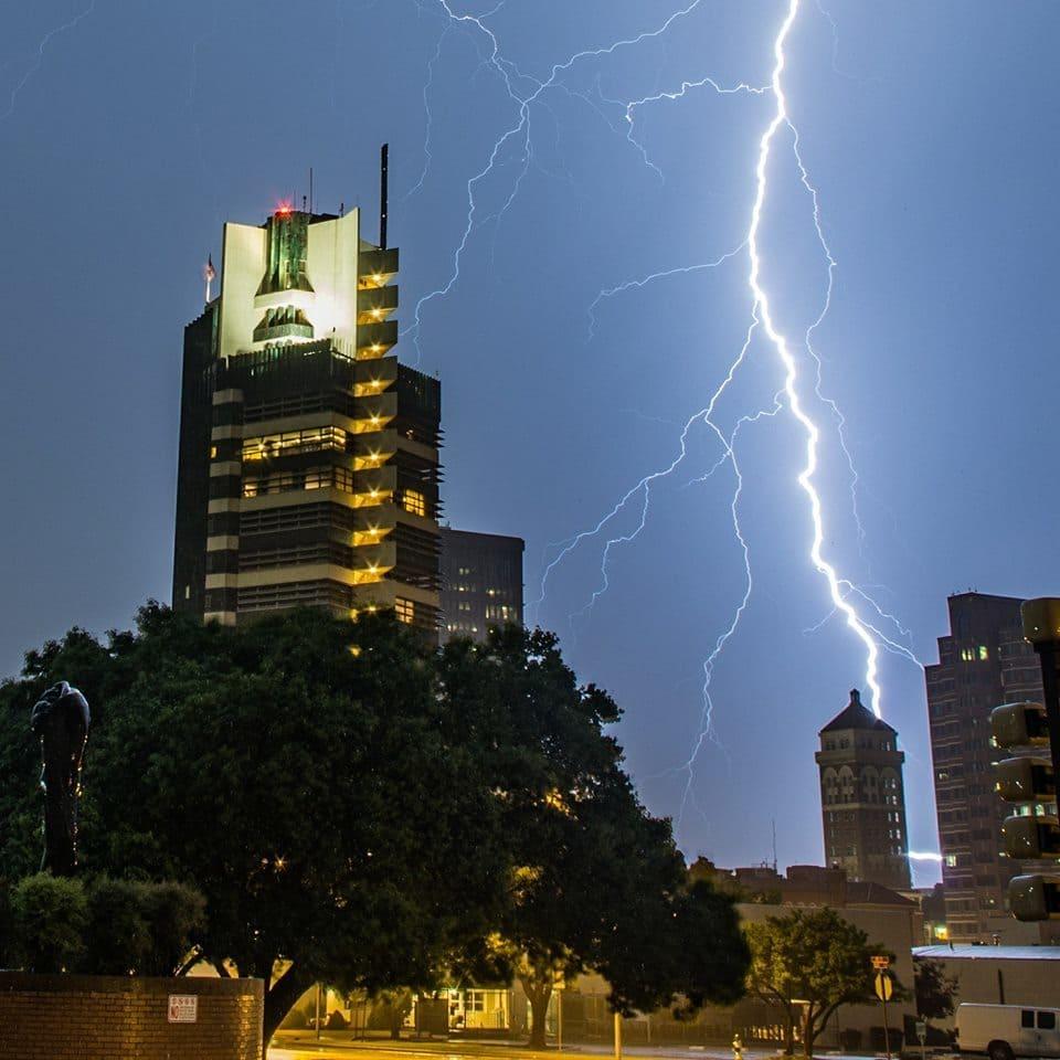 Lightning beside the historic Price Tower in Bartlesville, Oklahoma last night!