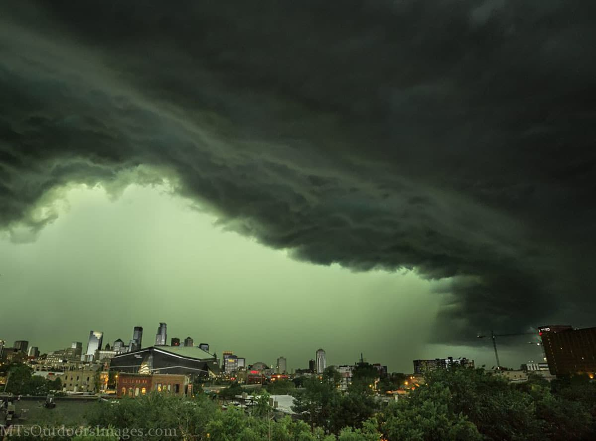 The big storm rolling into Minneapolis this morning, shot from the parking ramp at 19th Ave S. It looks like the whole city getting swallowed by a giant whale!