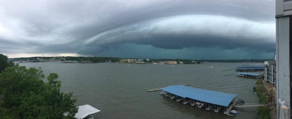 Tornado warned Storm crossing Lake of the Ozarks Missouri