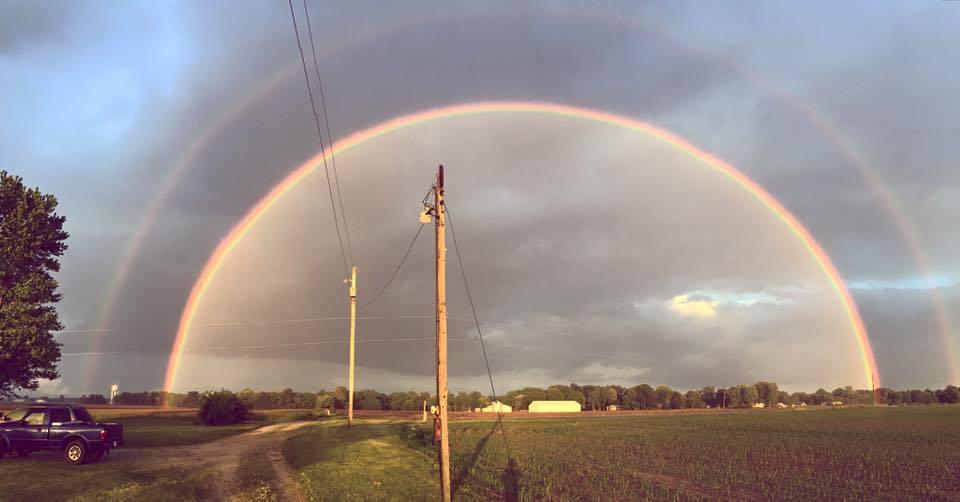 Double rainbow last night in bunker hill Illinois