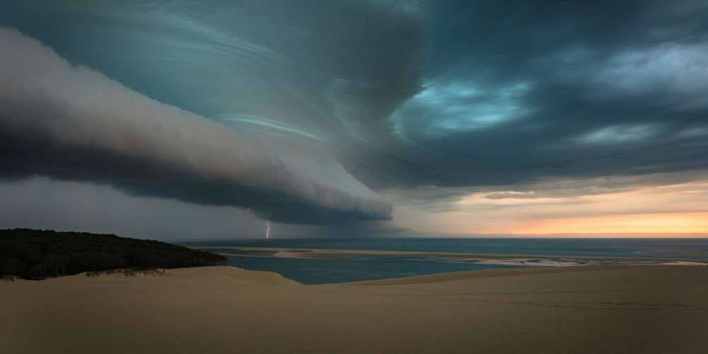 Shot from the Dune of Pilat photo by NIcolas Raspiengeas, storm over Bassin of Arcachon France.