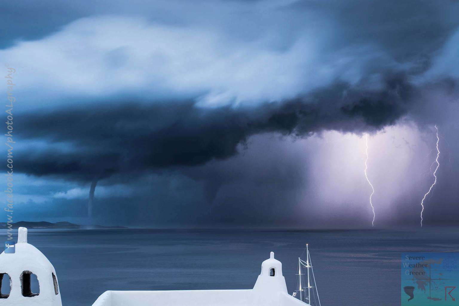 Twin Waterspouts along with lightning in Mykonos island - Greece early this morning!