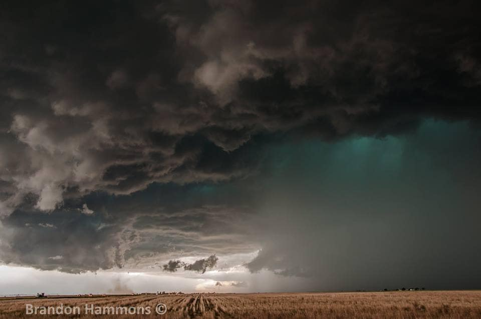 Vibrant tornadic supercell, barreling its way over Highway 36, in rural eastern Colorado this past Friday (5/26/17)