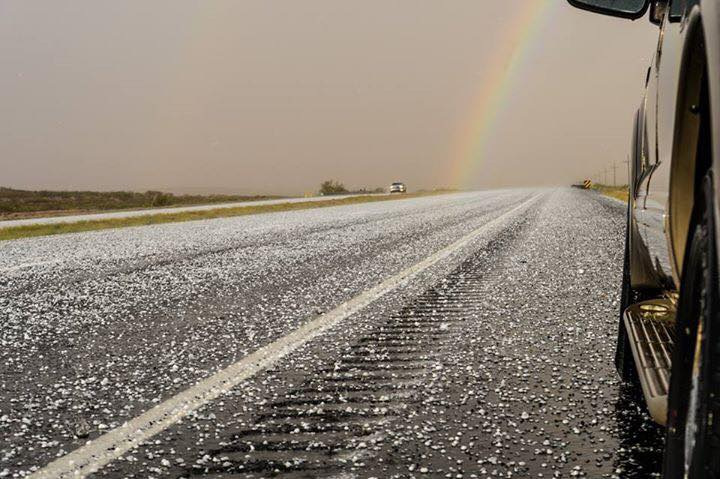 Highway to hail. I was not happy to find out there was no pot of gold or lucky charms at the base of that rainbow.