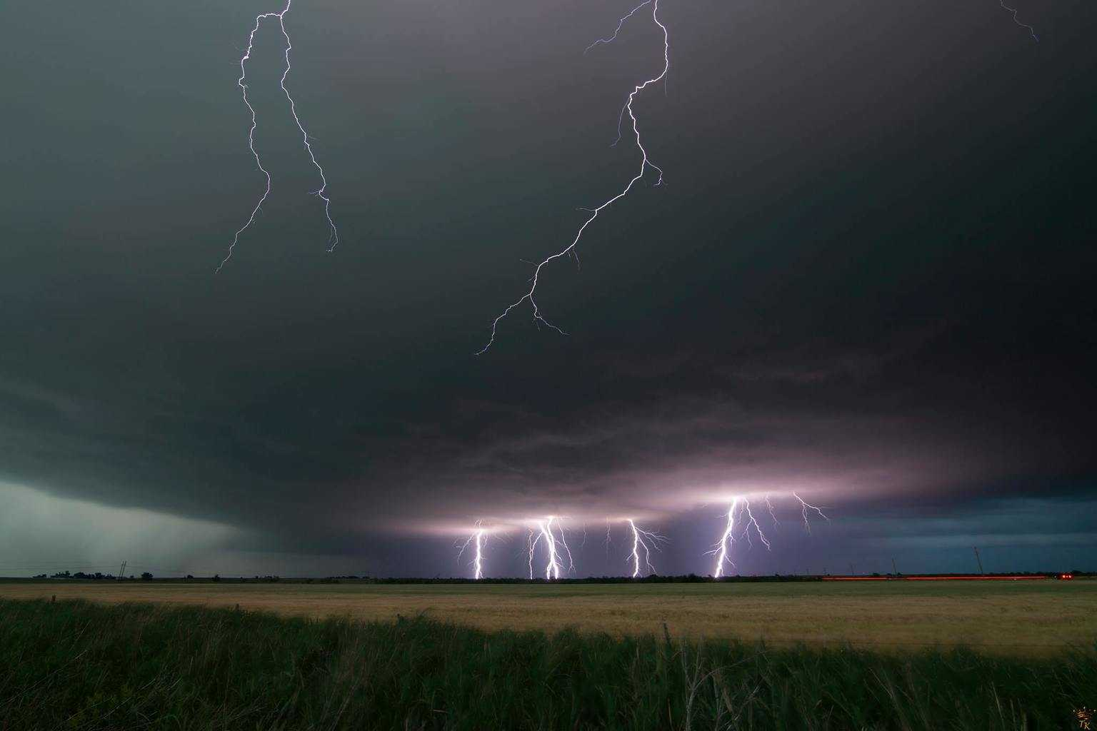 Lightning stack from earlier in the month around Carnegie, OK ... the bolts crawling over the top of the picture were from a huge CG that blasted right behind us ... it was pretty intense!