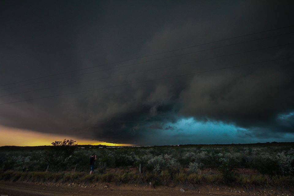HP Supercell with an intensely green core in Del Rio, Texas on May 22..