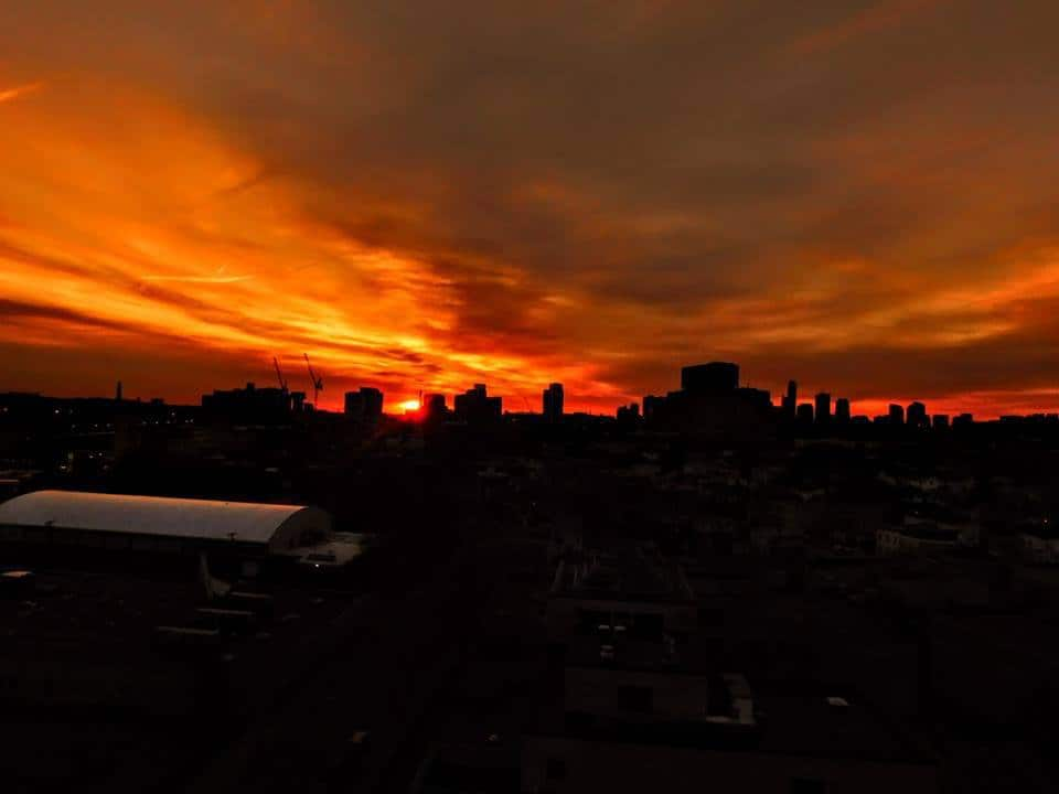 ..This morning sunrise from Cambridge Ma 02/28/18