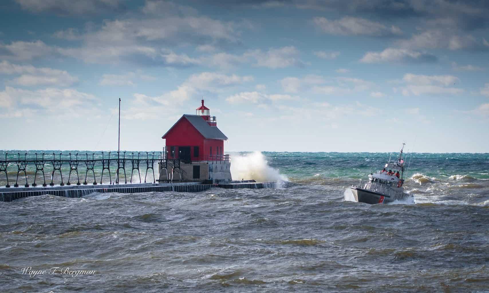 March winds on Lake Michigan, Coast Guard in Grand Haven.