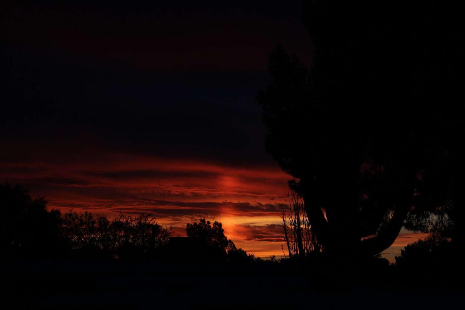 Final light of a sun pillar. Tucson AZ. 3/16/18