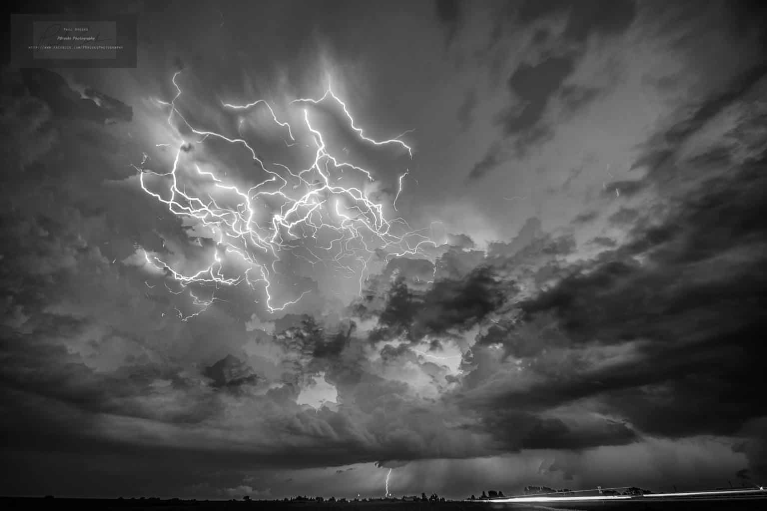 9-20-17, Composite stack. 12 images taken within a 20 minutes span, looking at the rear tower of a cell as it passed just to my east in Central Muscatine County, Iowa. Chose to convert to black and white to bring out cloud detail even more than the color version.