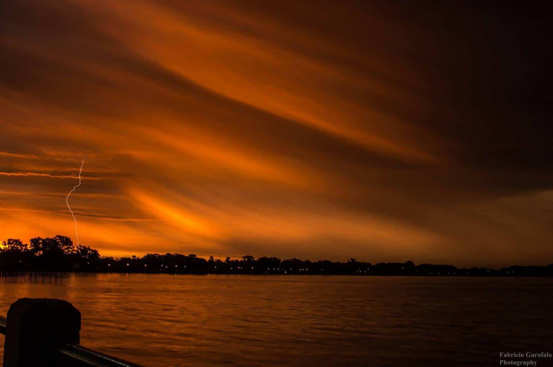 Lightning at sunset. Quilmes, Argentina. November 15, 2017