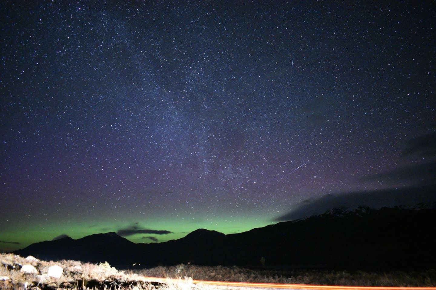 Northern lights taken oven the highlands of Scotland last night. A display which lasted hours although we didn't last for hours. Being half way up a pitch black mountain the nearest street light being 10 miles away the creeps got the better of us and we tucked tail and scampered home