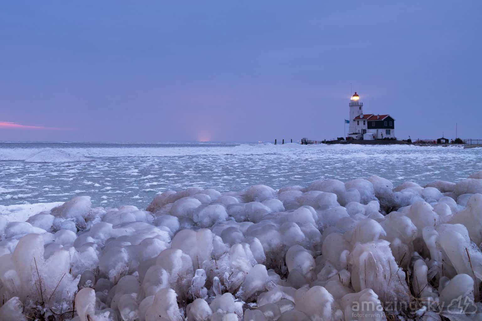 The old lighthouse 'Paard van Marken' today. Beautiful ice sculptures!  March 3, 2018. Marken, The Netherlands.