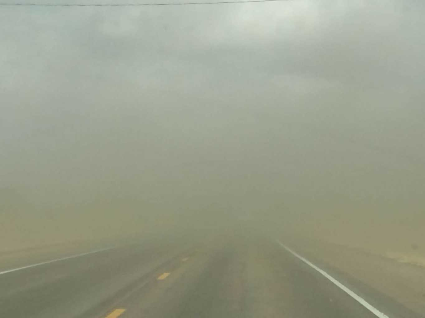 Tuesday afternoon in southern Nebraska, up to 58 mph. Top soil blowing away.