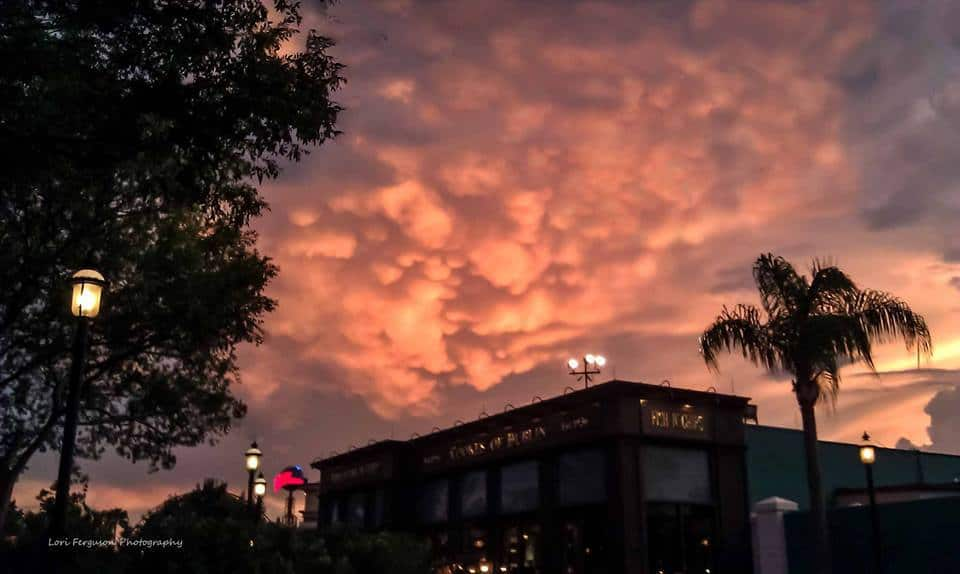 Happiest place on Earth! Mammatus in August 2011 at Downtown Disney in Orlando after a severe warned storm passes.