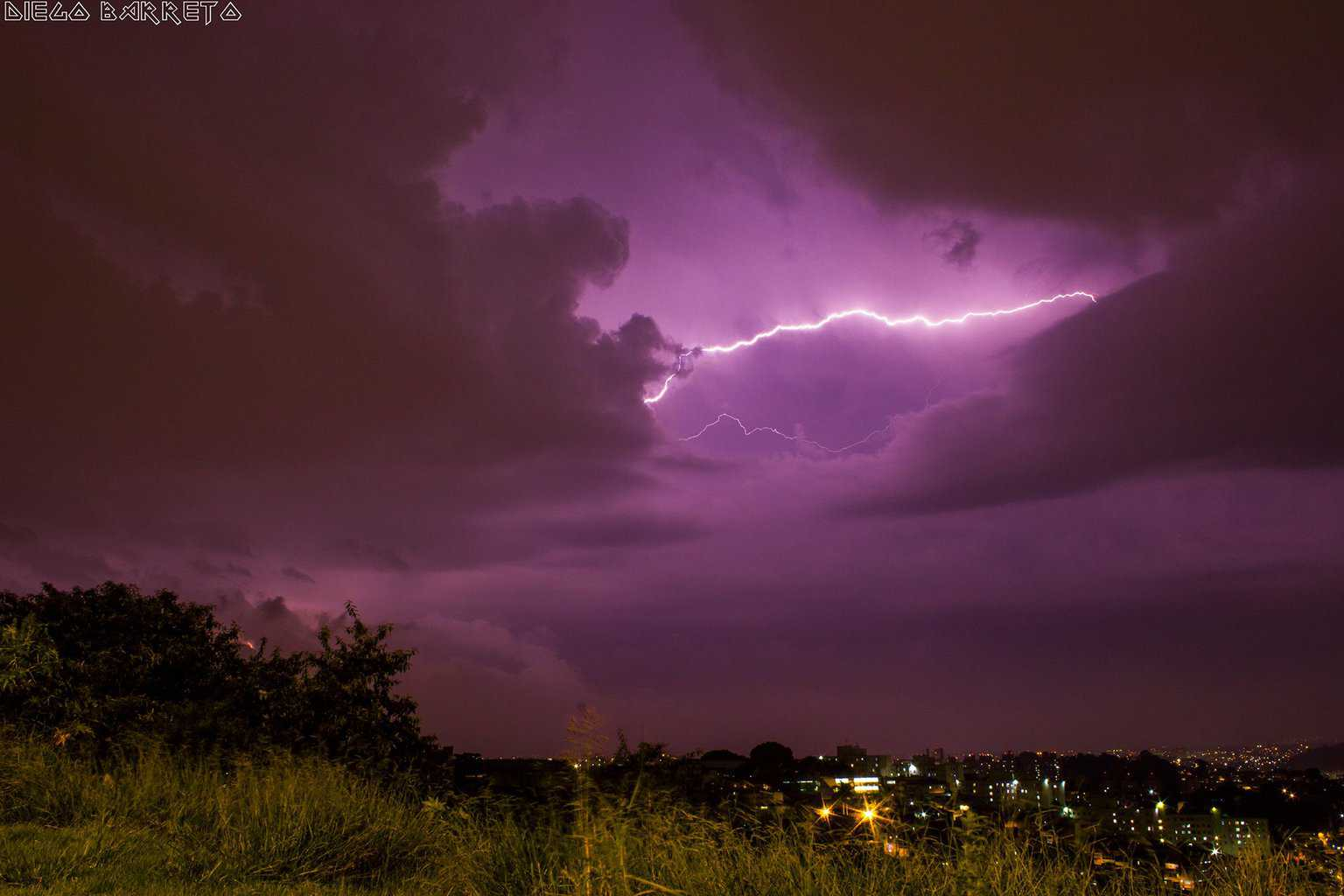 Shot this Inter-cloud lightning a few minutes ago during a thunderstorm. — in São Paulo, Brazil.