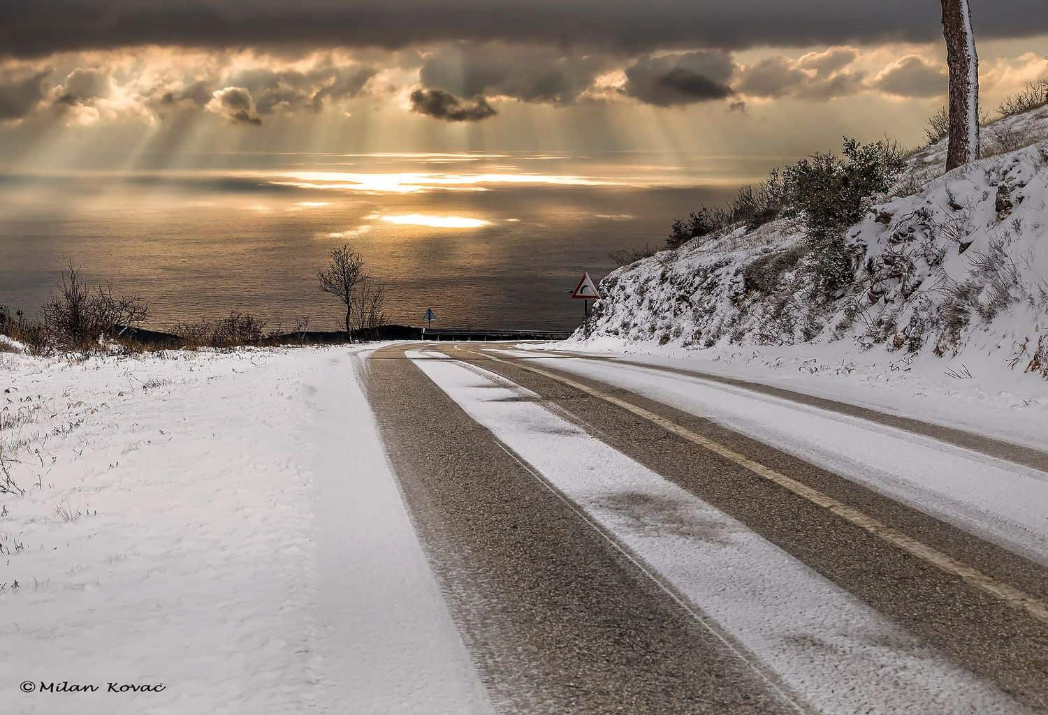 Beautiful sunset after snowy day. Konavle region, near Dubrovnik city-Croatia.