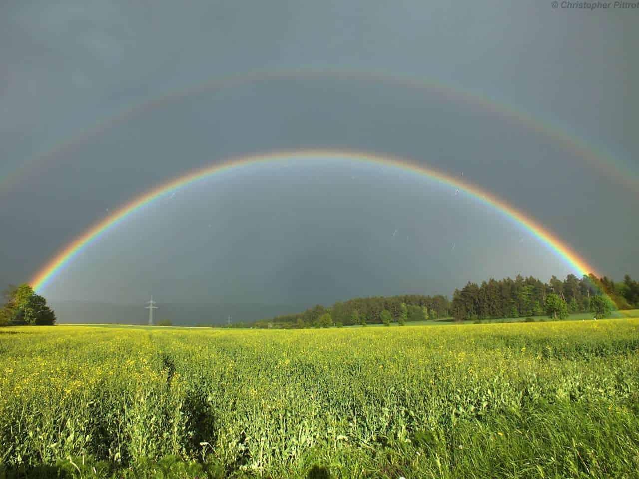 Intense double rainbow after a strong rainshower