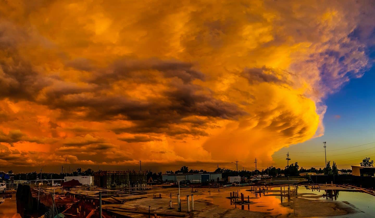 """""""Fire In The Sky"""" - Amazing Technicolor sunset following a tornadic supercell that dropped a tornado in downtown Hugo, OK in May 2016.— inHugo, Oklahoma."""