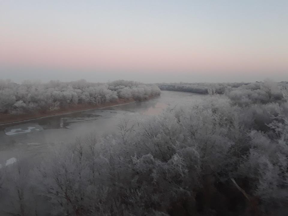 A bitter cold, 2° January morning, overlooking the Verdigris River in NE Oklahoma.