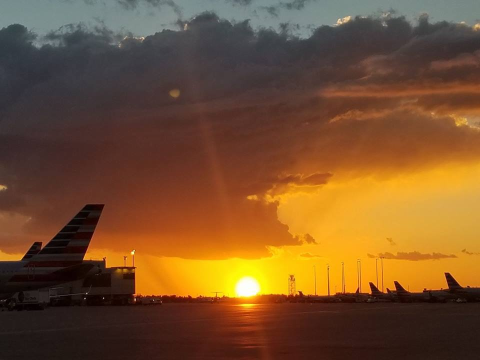 Have a great and safe night everyone Miami, Fl sunset on airport ramp